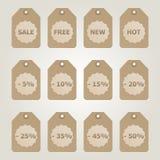 Etiquetas marrones de la venta del vector Imagen de archivo libre de regalías