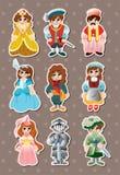 Etiquetas medievais dos povos dos desenhos animados Fotografia de Stock