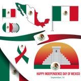 Etiquetas mexicanas tiradas mão da forma do círculo do vetor do Dia da Independência Bandeira mexicana do verde, a branca e a ver ilustração do vetor