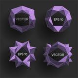 Etiquetas modernas polivinílicas bajas abstractas Vector el marco polivinílico bajo con el espacio para el elemento polivinílico  Fotos de archivo