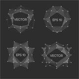 Etiquetas modernas polivinílicas bajas abstractas Vector el marco polivinílico bajo con el espacio para el elemento polivinílico  Foto de archivo libre de regalías