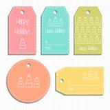 Etiquetas multicoloras del regalo de la Navidad listo para utilizar Saludo de la Navidad Vector Fotos de archivo libres de regalías