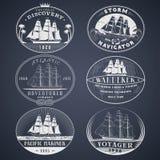 Etiquetas náuticas blancas Imagen de archivo