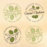 Etiquetas naturais do azeite Fotografia de Stock