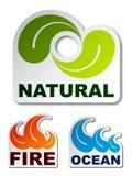 Etiquetas naturais do incêndio da flama da onda de oceano da folha ilustração stock