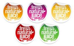 Etiquetas naturais do suco. Foto de Stock