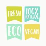 Etiquetas naturais e do vegetariano da bandeira Fotografia de Stock Royalty Free