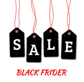 Etiquetas negras de la venta de viernes en el vector blanco del fondo Imágenes de archivo libres de regalías