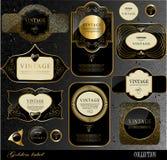 Etiquetas negras del oro Imagen de archivo libre de regalías