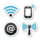 Red de Wifi, iconos de la zona del Internet fijados ilustración del vector