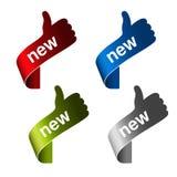 Etiquetas novas com mão do gesto - assine no produto de canto Fotos de Stock