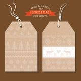 Etiquetas o etiquetas de la Navidad Imágenes de archivo libres de regalías
