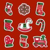 Etiquetas o etiquetas engomadas de la Navidad del vector para los regalos Fotos de archivo libres de regalías