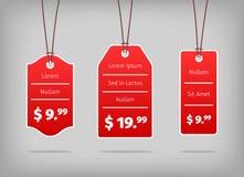 Etiquetas o etiquetas rojas de tasación de la ejecución con blanco Fotos de archivo libres de regalías