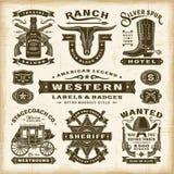 Etiquetas occidentales e insignias del vintage fijadas stock de ilustración