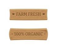 Etiquetas orgánicas y de la granja de la comida fresca Imagenes de archivo