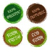 Etiquetas orgânicas e naturais - o vetor ajustou-se com quadros do círculo Imagem de Stock Royalty Free