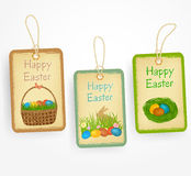Etiquetas orientais no estilo com ovos orientais, cesta oriental do vintage, coelho, grama Ilustração do vetor Imagem de Stock Royalty Free