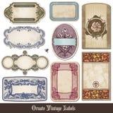 Etiquetas ornamentado do vintage Fotos de Stock Royalty Free