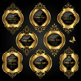 Etiquetas ornamentales de lujo del oro - sistema del vector Fotos de archivo