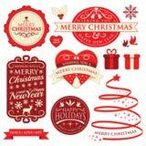 Etiquetas & ornamento do Natal Fotos de Stock Royalty Free