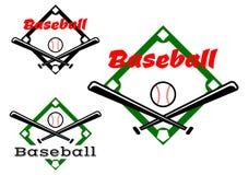 Etiquetas ou crachás do basebol Fotografia de Stock Royalty Free