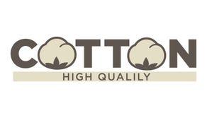 Etiquetas ou logotipo do algodão para a etiqueta natural pura de matéria têxtil de algodão de 100 por cento ilustração do vetor