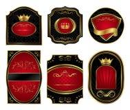 Etiquetas ouro-moldadas pretas ajustadas Imagem de Stock Royalty Free