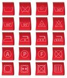 Etiquetas para la ropa con la dirección del illustrat del vector del lavado Fotografía de archivo