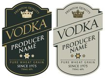 Etiquetas para la vodka con las inscripciones y la corona libre illustration