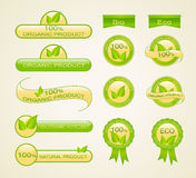 Etiquetas para o produto eco-amigável, orgânico e natural Fotos de Stock
