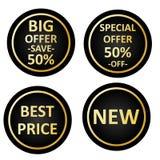 Etiquetas para a oferta especial da loja, preço novo, melhor, oferta grande Vetor eps10 das etiquetas da venda ilustração do vetor