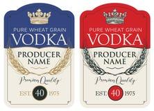 Etiquetas para a vodca com as orelhas do trigo e da coroa ilustração stock