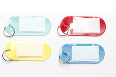 Etiquetas plásticas coloridas Imágenes de archivo libres de regalías