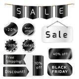 Etiquetas pretas da venda de sexta-feira isoladas no fundo branco ilustração royalty free