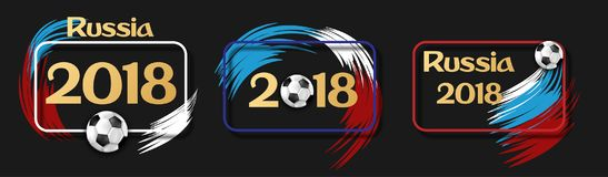 Etiquetas 2018 pretas do futebol de Rússia com bola de futebol Ilustração Royalty Free