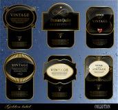 Etiquetas pretas do ouro Fotos de Stock Royalty Free