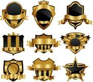 Etiquetas quadro ouro Fotos de Stock