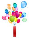 Etiquetas que penduram em balões da cor Fotografia de Stock