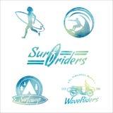 Etiquetas que practican surf del estilo retro de la acuarela del vector Foto de archivo