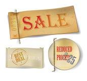 Etiquetas realistas de las ventas Fotografía de archivo