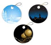 Etiquetas redondas de la Navidad y del invierno Foto de archivo libre de regalías