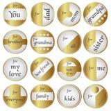 Etiquetas redondas del regalo brillante del oro para los regalos Fotografía de archivo libre de regalías