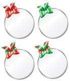 Etiquetas redondas del regalo de la Navidad Fotos de archivo libres de regalías