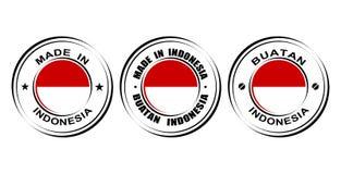 Etiquetas redondas y x22; Hecho en Indonesia& x22; con la bandera Imagen de archivo libre de regalías