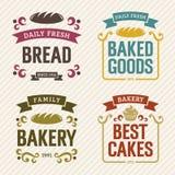 Etiquetas retras de la panadería Fotos de archivo