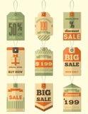 Etiquetas retras de la venta Fotos de archivo libres de regalías