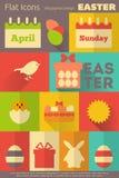 Etiquetas retras de Pascua stock de ilustración