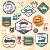 Etiquetas retras del coche Imágenes de archivo libres de regalías