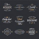 Etiquetas retras del descuento y de la venta del vector de la tipografía Imagen de archivo